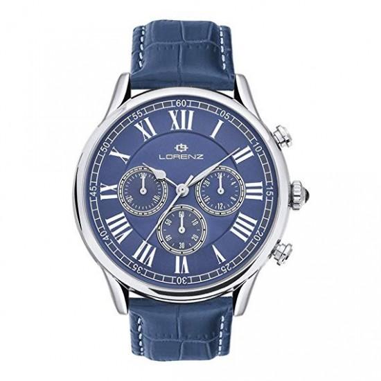 Orologio Uomo Lorenz Classic Style 40mm Cronografo Pelle Blu