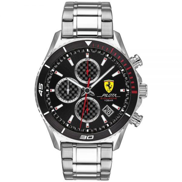 Orologio Uomo Ferrari Pilota Cronografo 44mm Acciaio